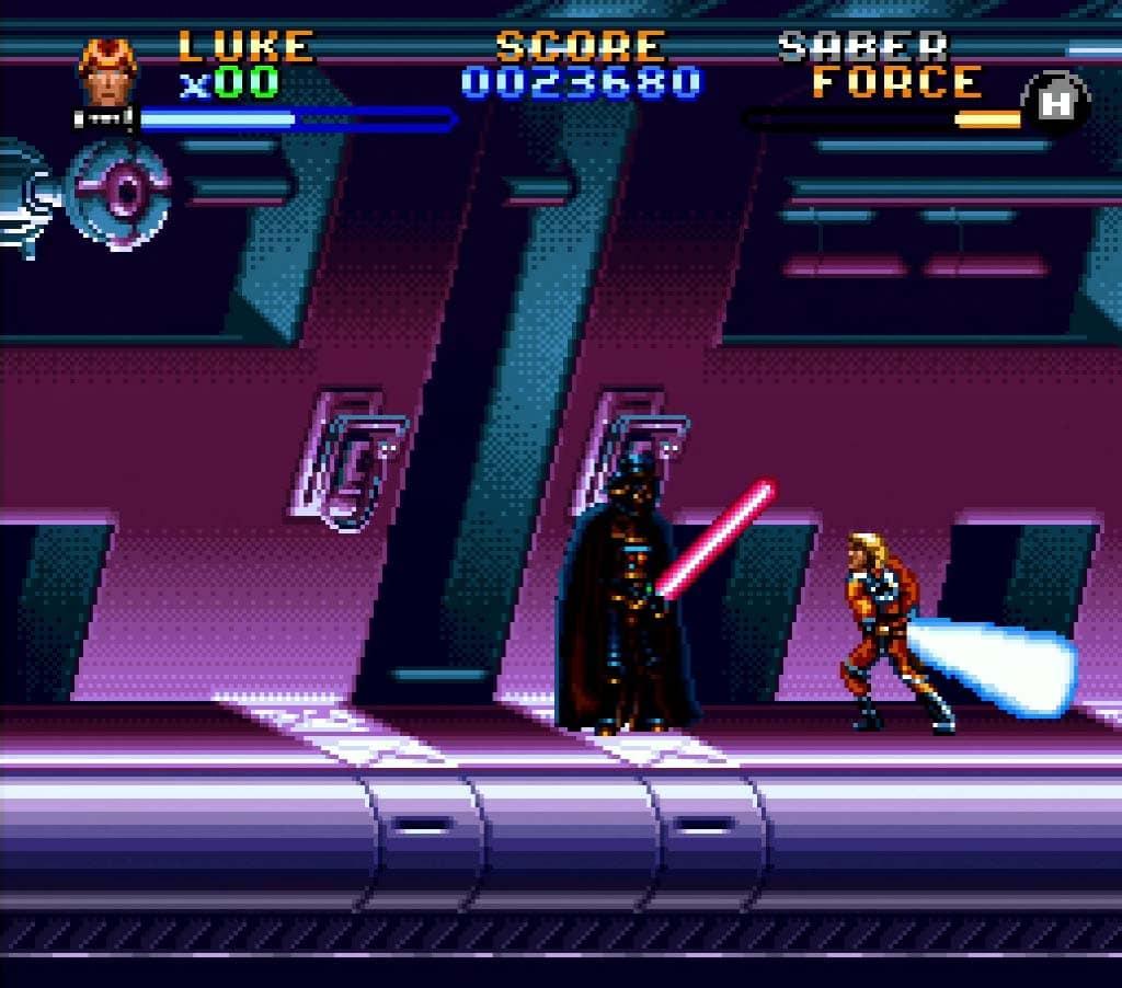 Luke Skywalker fighting Darth Vader in Super Empire Strikes Back SNES review
