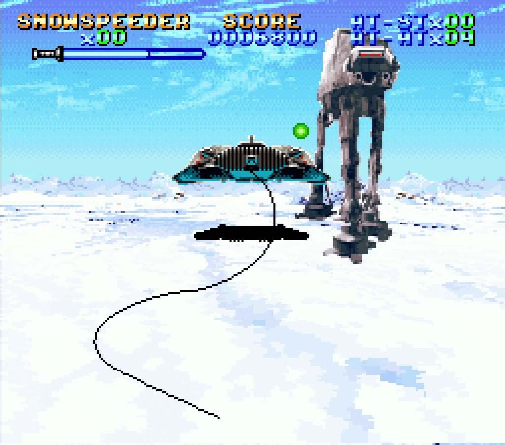 A screenshot of Super Empire Strikes Back with a Snowspeeder tripping an AT-AT walker