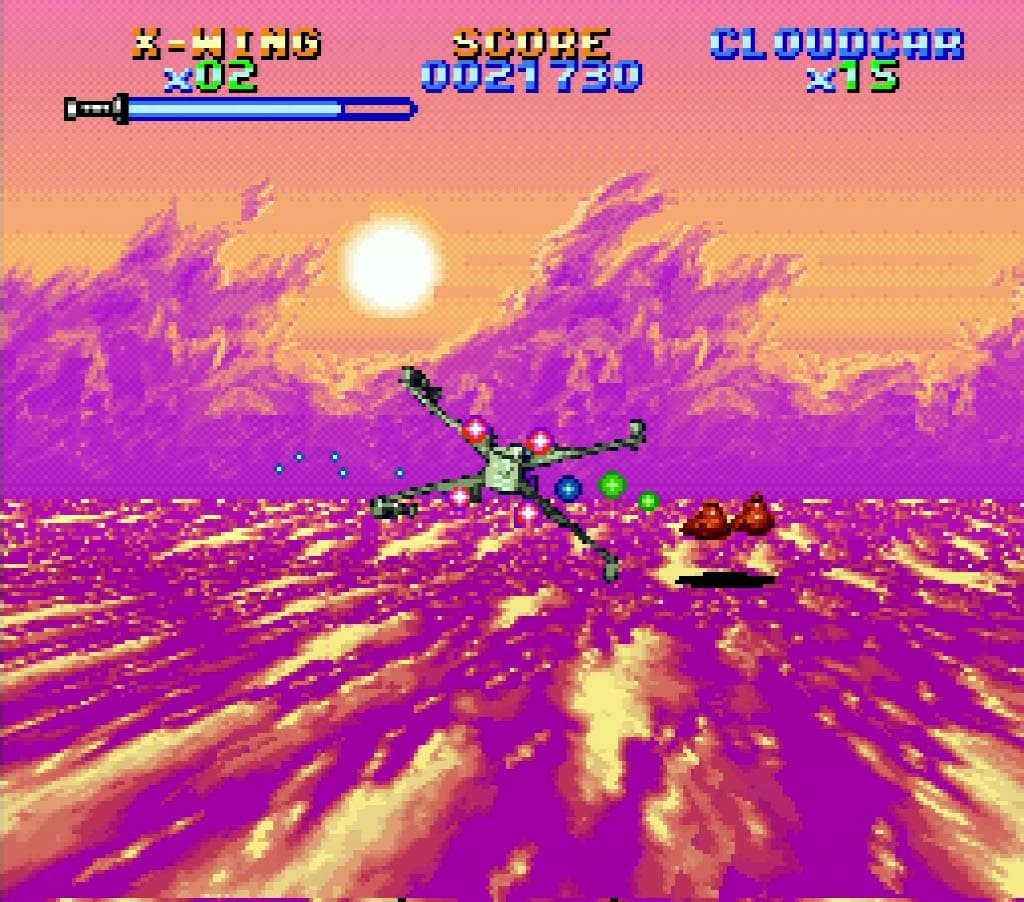 A screenshot of Super Star Wars: The Empire Strikes Back on Super Nintendo Entertainment System