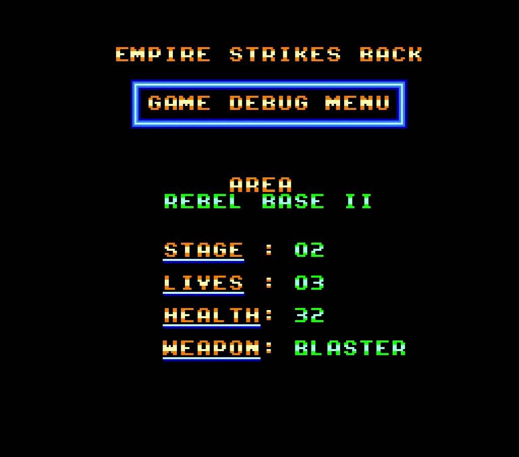 Screenshots of the Super Star Wars Empire Strikes Back Cheats menu for super nintendo