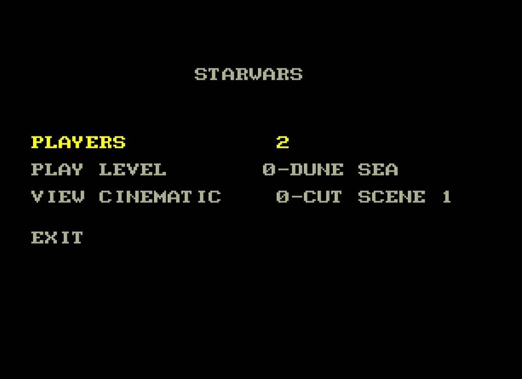 Screenshot of the menu from the SEGA Genesis Super Star Wars Prototype