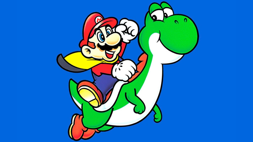 super mario riding on yoshi, while wearing a cape feather