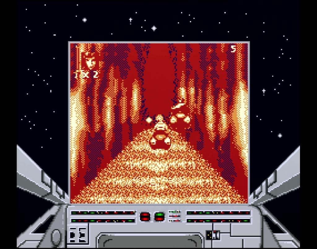 Screenshot of the Endor Speeders in Game Boy version of Super Star Wars Return of The Jedi