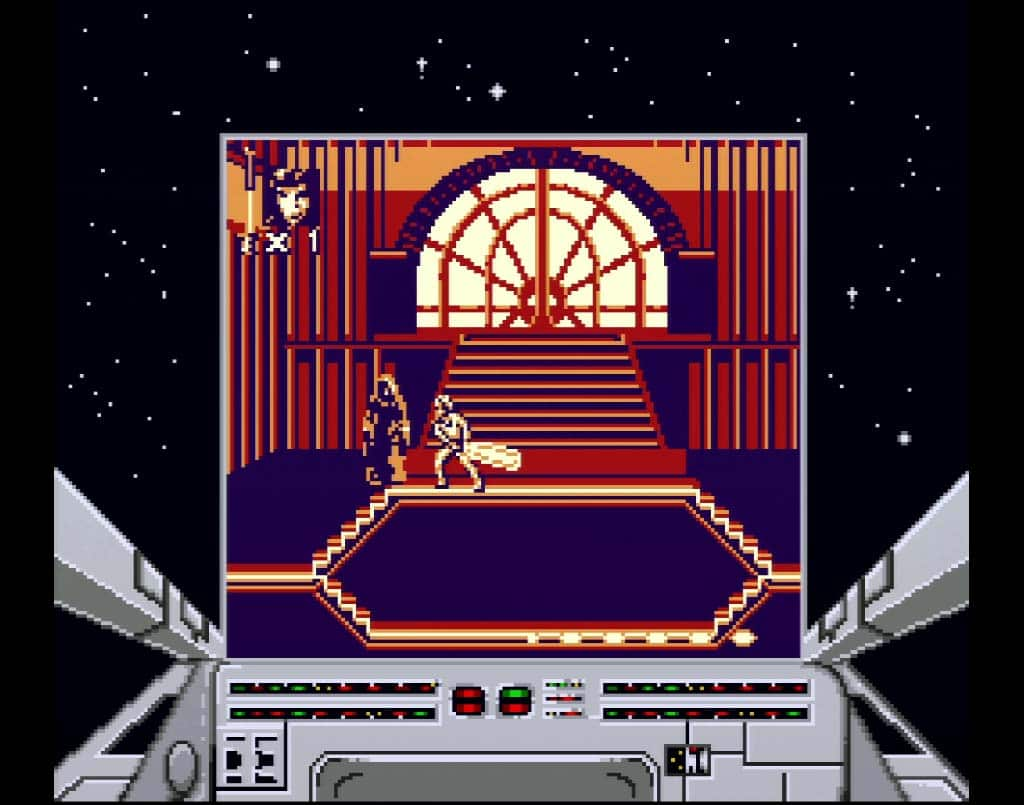 Screenshot of the Emperor Palpatine Boss Fight on Game Boy