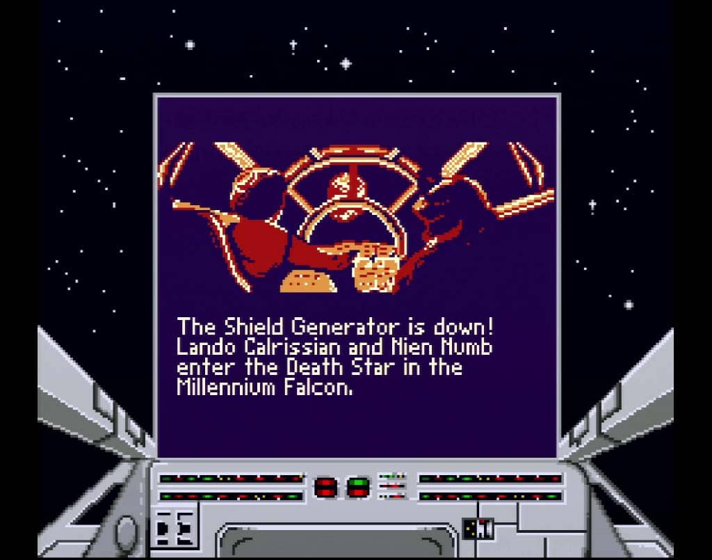 A cutscene from the Game Boy port of Super Star Wars Return of The Jedi