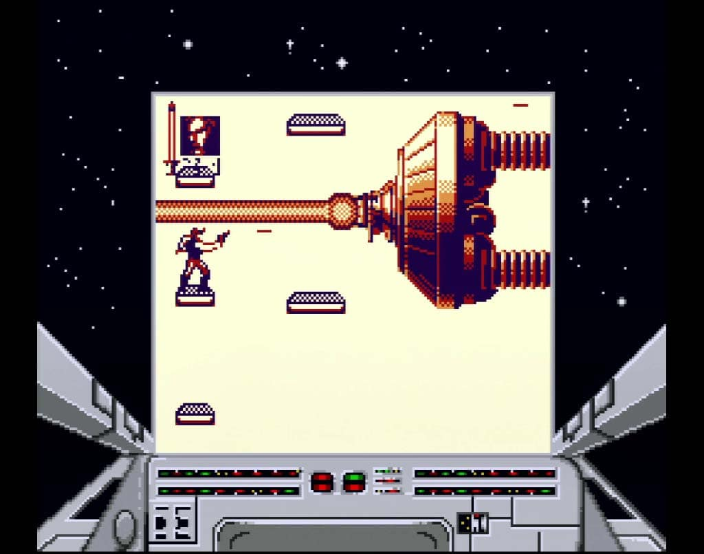 Fighting the Shield Generator Boss on the Game Boy version of Return of The Jedi