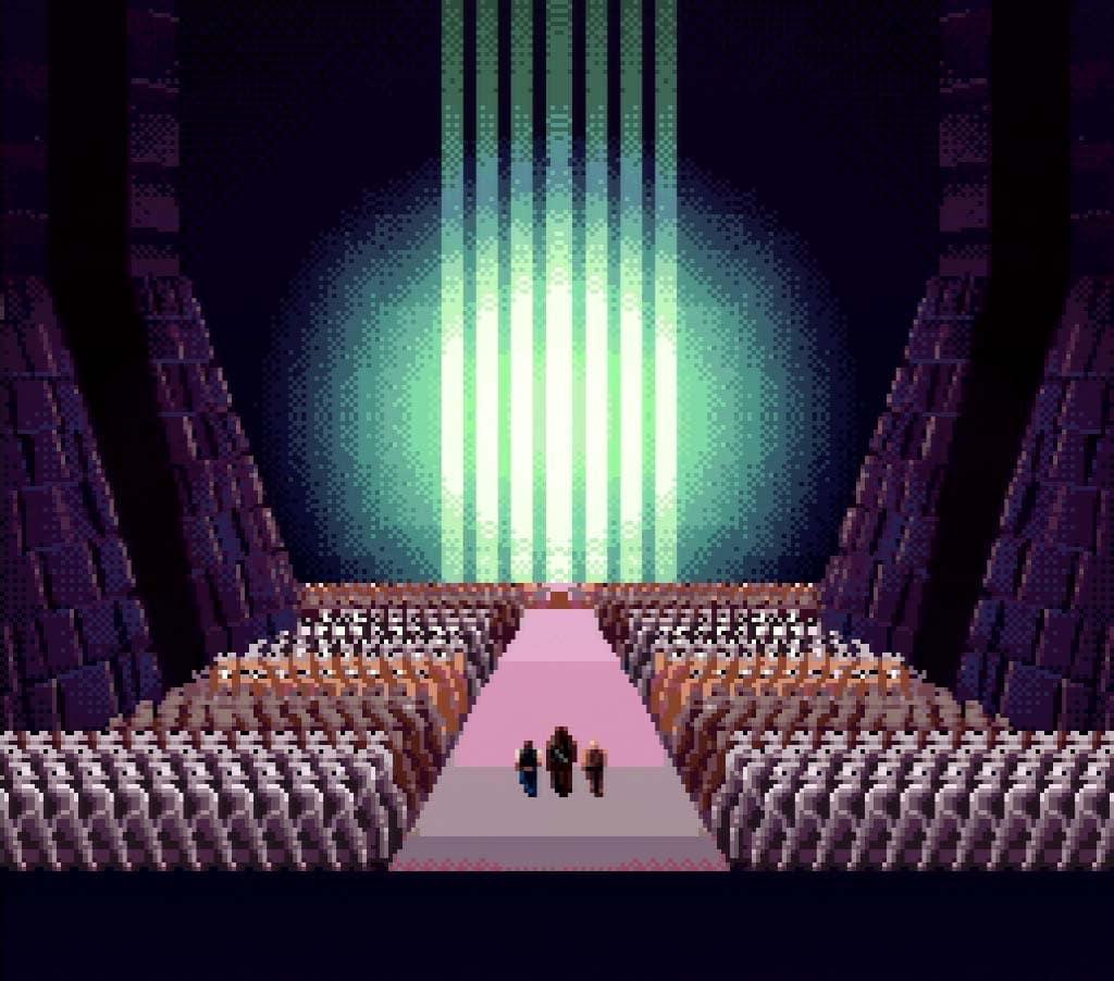 A screenshot of the Super Star Wars ending for Super Nintendo
