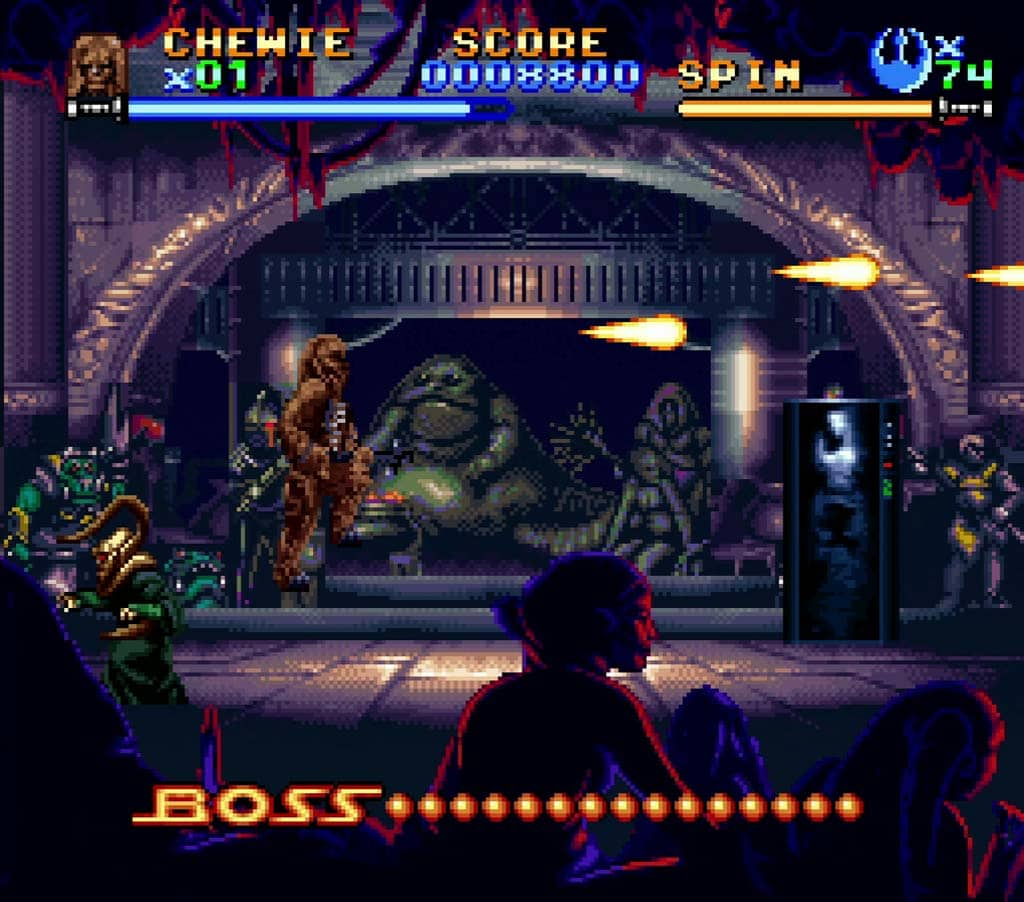 chewbacca fighting in jabbas palace in return of the jedi snes review