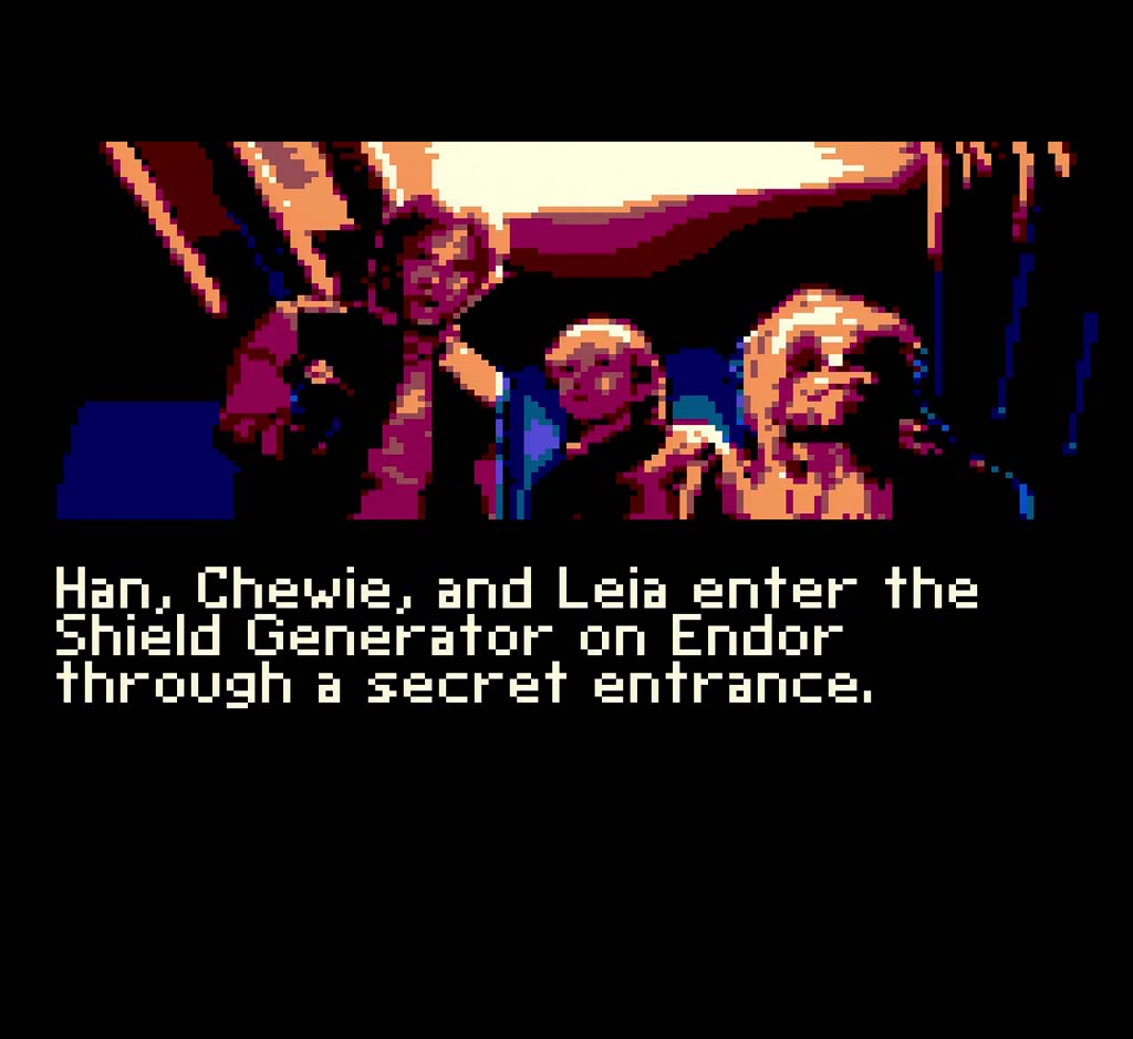 A cutscene from Return of The Jedi on Game Gear