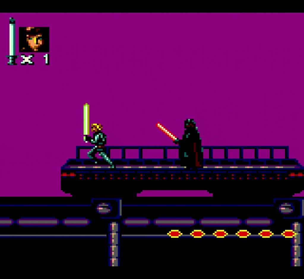 Fighting Darth Vader in the Game Gear port of Super Star Wars Return of The Jedi