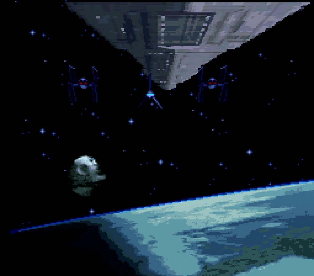 a star destroyer swooping past the death star in return of the jedi snes